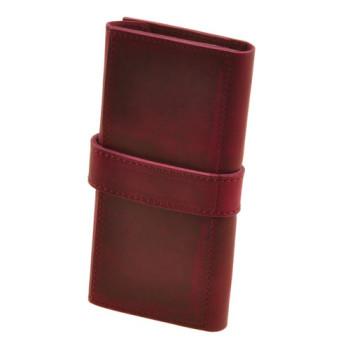 Кожаное портмоне ручной работы виноградного цвета class=