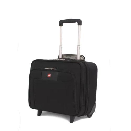 Небольшой чемодан на двух колесах с телескопической ручкой