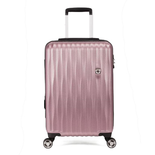 """Пластиковый чемодан на колесах 19"""" с USB для подзарядки телефона розовый"""