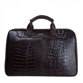 Объемный мужской портфель из натуральной кожи под крокодила class=