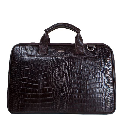 Объемный мужской портфель из натуральной кожи под крокодила
