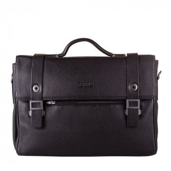 Оригинальный мужской портфель из мягкой черной кожи class=