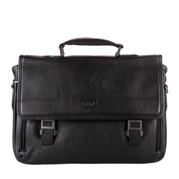 Мягкая деловая сумка для мужчин из натуральной кожи черного цвета class=