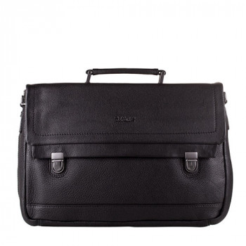 Мужская кожаная сумка мягкой формы черного цвета class=