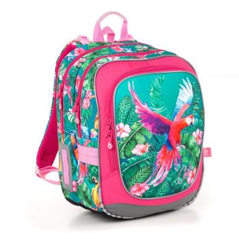 Яркий розовый рюкзак с попугаем Ара для девочки первоклассницы  class=