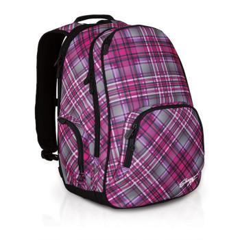 Женский молодежный рюкзак в клетку розовый class=