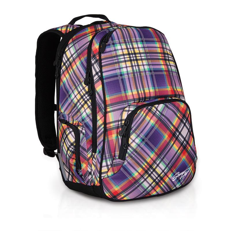 Женский молодежный рюкзак в клетку фиолетовый