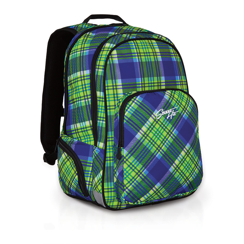 Молодежный рюкзак принт шотландка зеленого цвета
