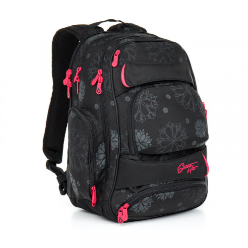 Молодежный рюкзак для девушек с усиленной ортопедической спинкой черный