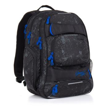 Стильный молодежный рюкзак черного цвета с синей фурнитурой class=