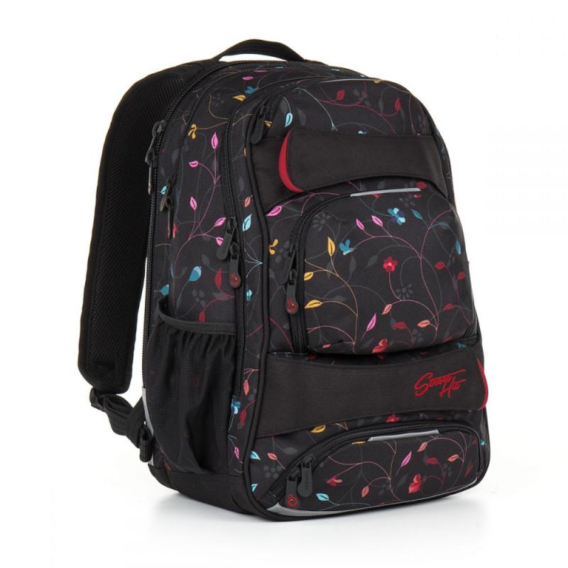 Молодежный рюкзак для девушек черный с разноцветными цветами