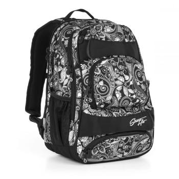 Молодежный рюкзак с усиленной ортопедической спинкой черно-белый принт class=