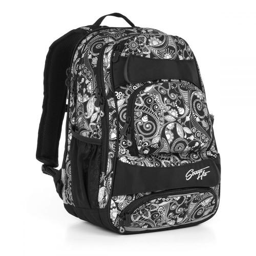 Молодежный рюкзак с усиленной ортопедической спинкой черно-белый принт