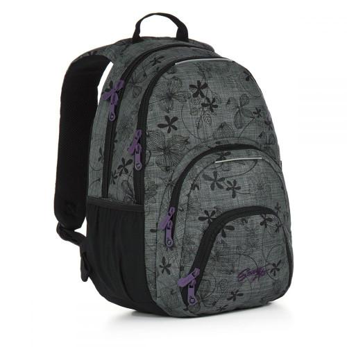 Молодежный рюкзак для девушек с усиленной ортопедической спинкой серый