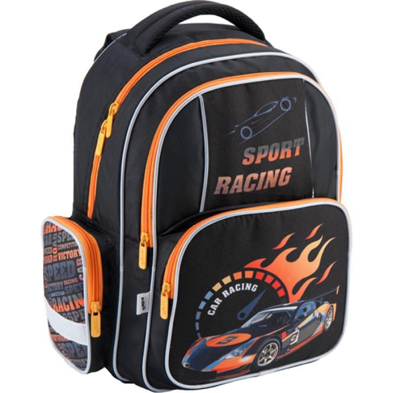 Черный с оранжевым рюкзак школьный Kite Sport racing для первоклассника