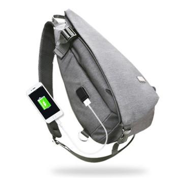 Кроссбоди рюкзак с выходом USB серый class=