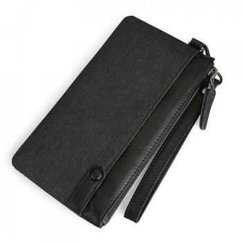 Бумажник на молнии с отделением для телефона черный class=