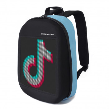 Рюкзак с лед дисплеем голубой class=