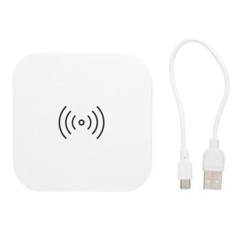 Зарядка беспроводная с 2 USB портами белая 5W class=