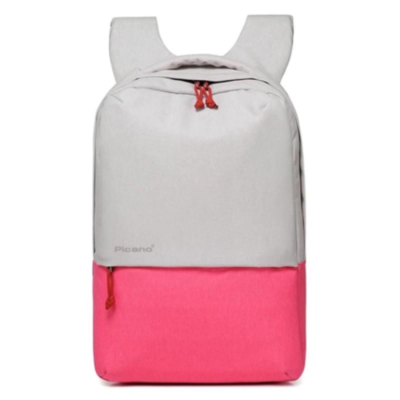 Стильный рюкзак с выходом USB белый с розовым