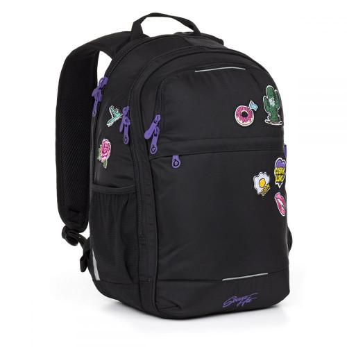 Молодежный рюкзак для девушки черный с яркими нашивками