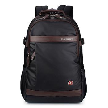 Рюкзак SwissGear черный с кожаными коричневыми вставками 32 литра class=