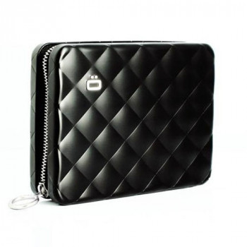 Бумажник на молнии с RFID защитой Quilted zipper черный class=
