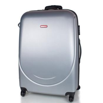 Большой чемодан на 4 колеса Gravitt серебро class=
