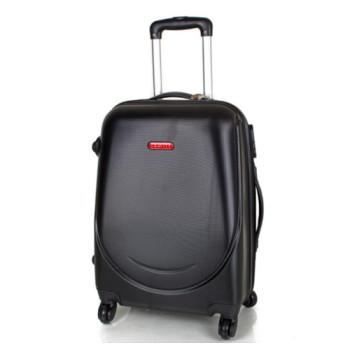 Пластиковый чемодан на 4 х колесах Gravitt черный class=