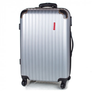 Устойчивый дорожный чемодан на колесах Gravitt серебристый class=
