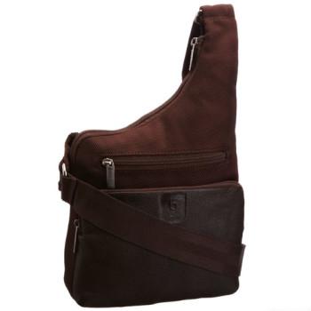Оригинальная сумка с отделкой из натуральной кожи Bugatti коричневая class=