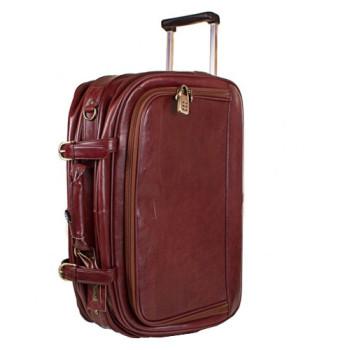 Кожаный чемодан на колесах Rockbun коричневый class=
