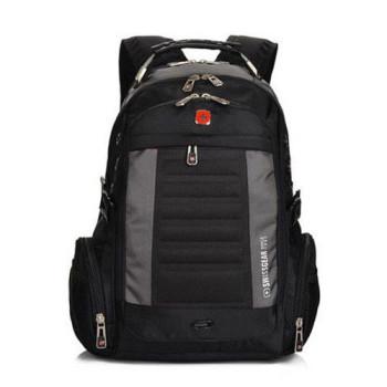Городской рюкзак с отделением для ноутбука черный с серыми вставками class=