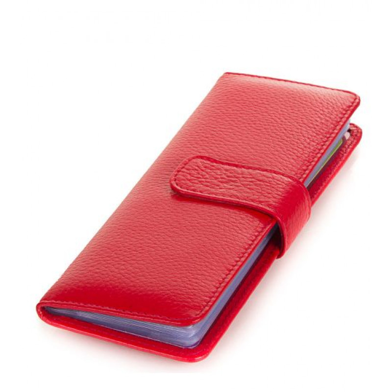 Женская визитница на 40 карточек Canpellini кожа красного цвета