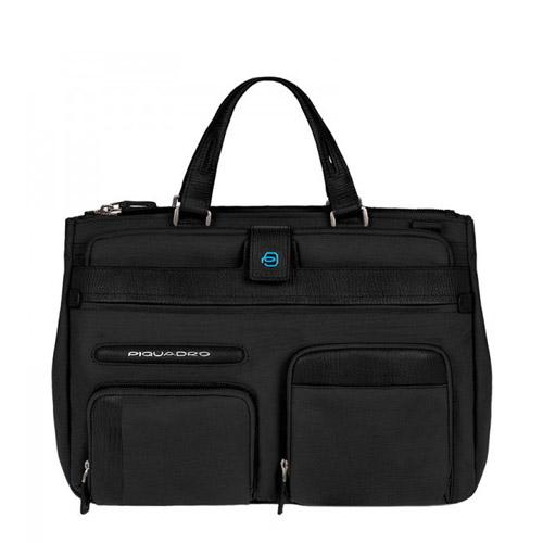 """Портфель Piquadro с отделением для ноутбука 12"""", iPad + чехол для ноутбука + косметичка. Коллекция SIGNO. Цвет черный"""