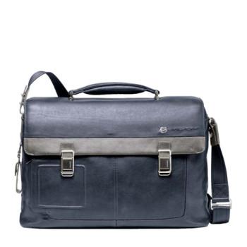 Кожаный портфель Piquadro с фронтальными карманами class=