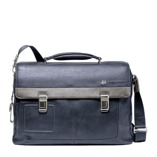 """Кожаный портфель Piquadro с отделение для ноутбука 15"""" с фронтальными карманами. Коллекция VIBE. Цвет синий"""