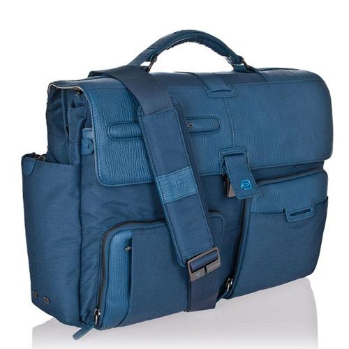 """Портфель на 2 отделения и съемными чехлом для ноутбука 15"""". Коллекция SIGNO. Цвет синий"""